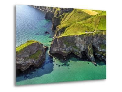Aerial View of Carrick-a-Rede Rope Bridge on the North Irish Coast-Chris Hill-Metal Print