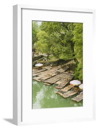 Bamboo Rafts Dock by Stone Stairs on the Li River Near Yangshuo, China-Jonathan Kingston-Framed Photographic Print