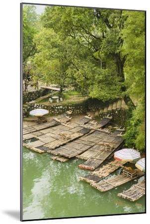 Bamboo Rafts Dock by Stone Stairs on the Li River Near Yangshuo, China-Jonathan Kingston-Mounted Photographic Print