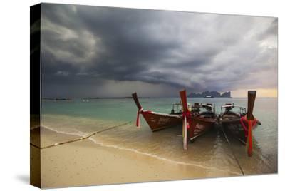 Thai Fishing Boats Beached on Phi Phi Island During a Storm-Alex Saberi-Stretched Canvas Print