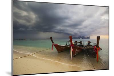 Thai Fishing Boats Beached on Phi Phi Island During a Storm-Alex Saberi-Mounted Photographic Print