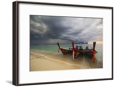 Thai Fishing Boats Beached on Phi Phi Island During a Storm-Alex Saberi-Framed Photographic Print