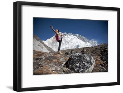 A Woman Doing the Lord of the Dance Pose, Or Natarajasana-Cory Richards-Framed Photographic Print