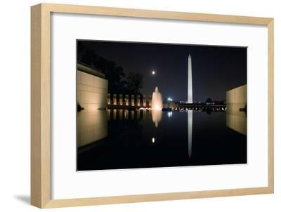 The Washington Monument Reflected in the World War II Memorial Pool-Vickie Lewis-Framed Photographic Print