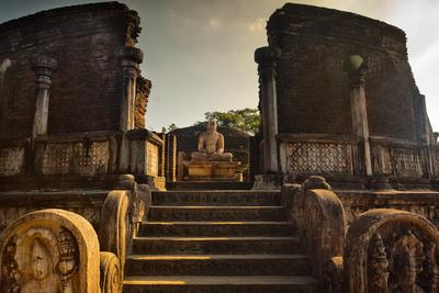 The Audience Hall in the Ancient City in Polonnaruwa-Alex Saberi-Framed Photographic Print