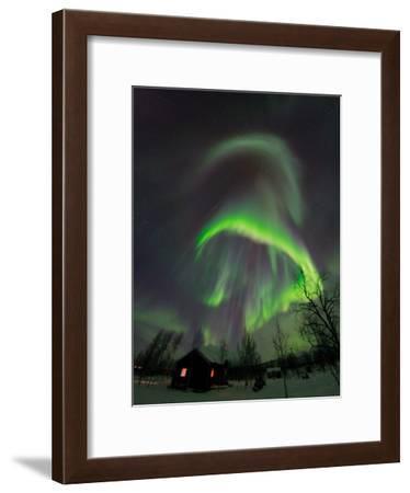 The Aurora Borealis Over a Sami Village House-Babak Tafreshi-Framed Photographic Print