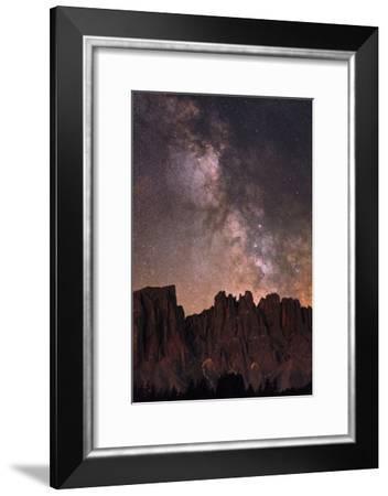 The Milky Way and Stars Above Latemar Mountain-Babak Tafreshi-Framed Photographic Print
