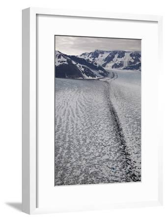 Moraine Lines at the Joining of Hubbard and Valerie Glacier-Matthias Breiter-Framed Photographic Print