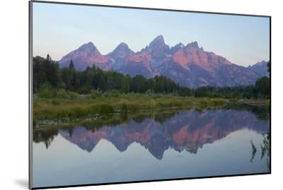 A Reflection of the Grand Teton Range in the Snake River-Barrett Hedges-Mounted Photographic Print