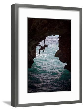 A Rock Climber Climbing Without Ropes Above the Mediterranean Sea-Cory Richards-Framed Photographic Print