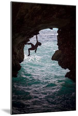 A Rock Climber Climbing Without Ropes Above the Mediterranean Sea-Cory Richards-Mounted Photographic Print