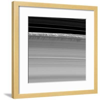 Towering Walls of Ice Rubble Cast Long Shadows on the Outer Edge of Saturn's B Ring--Framed Photographic Print