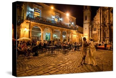 An Outdoor Restaurant and Salsa Dancers on the Cobble Stoned Plaza Catedral in Old Havana-Dmitri Alexander-Stretched Canvas Print