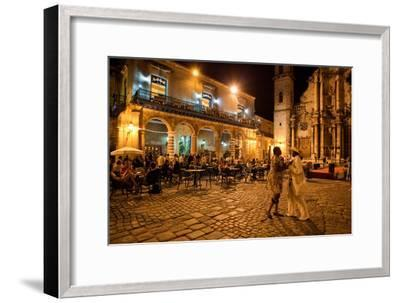 An Outdoor Restaurant and Salsa Dancers on the Cobble Stoned Plaza Catedral in Old Havana-Dmitri Alexander-Framed Photographic Print