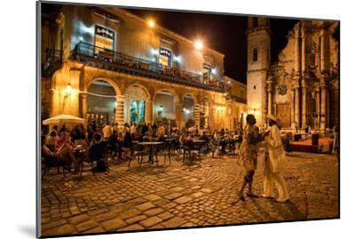 An Outdoor Restaurant and Salsa Dancers on the Cobble Stoned Plaza Catedral in Old Havana-Dmitri Alexander-Mounted Photographic Print