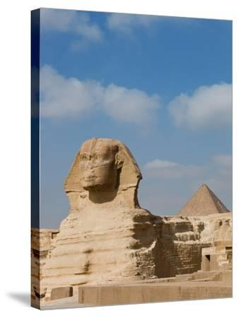 The Great Sphinx and Pyramids of Giza on a Sunny Day-Alex Saberi-Stretched Canvas Print