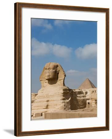 The Great Sphinx and Pyramids of Giza on a Sunny Day-Alex Saberi-Framed Photographic Print