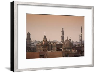 Minarets and Mosques of Cairo at Dusk-Alex Saberi-Framed Photographic Print