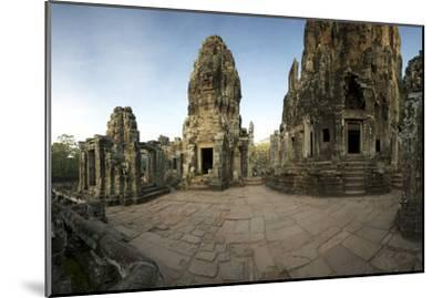 Ornate Bas Relief on the 12th Century Buddhist Pyramid Temple, Bayon-Jim Ricardson-Mounted Photographic Print