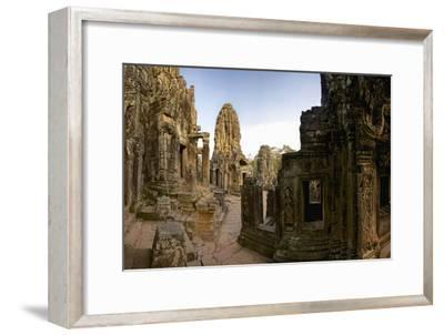 Ornate Bas Relief on the 12th Century Buddhist Pyramid Temple, Bayon-Jim Ricardson-Framed Photographic Print