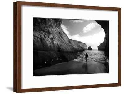 A Stand Up Paddleboarder on the Rough Coastline North of Santa Cruz-Ben Horton-Framed Photographic Print