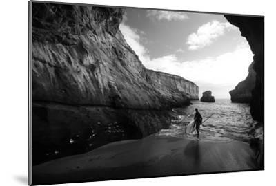 A Stand Up Paddleboarder on the Rough Coastline North of Santa Cruz-Ben Horton-Mounted Photographic Print