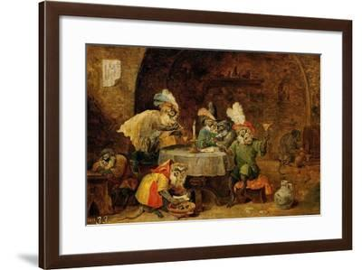 Monkeys Drinking And Smoking, 17th Century-David Teniers the Younger-Framed Giclee Print