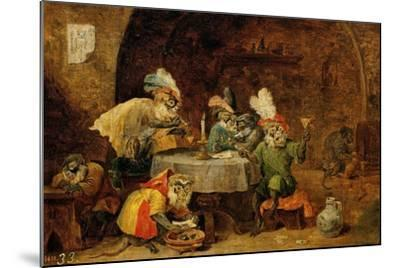Monkeys Drinking And Smoking, 17th Century-David Teniers the Younger-Mounted Giclee Print