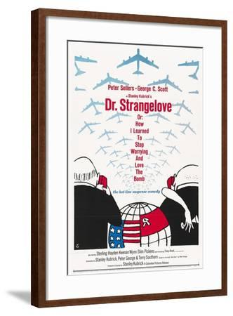 """""""Dr. Strangelove Or: How I Learned To Stop Worrying And Love the Bomb"""" 1964, by Stanley Kubrick--Framed Giclee Print"""