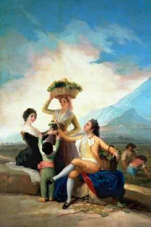 The Grape Harvest or Autumn, 1786-Francisco de Goya-Stretched Canvas Print