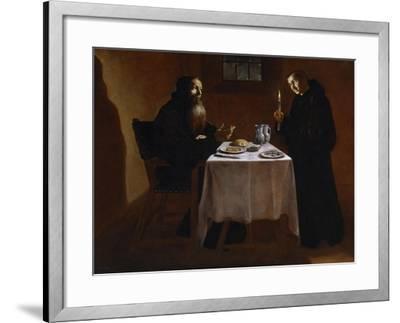 Saint Benedict Blessing Saint Maur, 17th Century, Spanish School-Juan Ricci-Framed Giclee Print