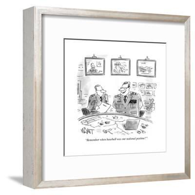"""""""Remember when baseball was our national pastime?"""" - Cartoon-Christopher Weyant-Framed Premium Giclee Print"""