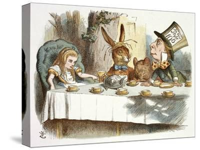 The Mad Hatter's Tea Party-John Teniel-Stretched Canvas Print