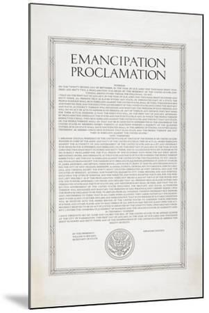 The Emancipation Proclamation. Abraham Lincoln Declares All Slaves in the United States Free--Mounted Giclee Print
