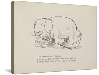Elephant in Row Boat From a Collection Of Poems and Songs by Edward Lear-Edward Lear-Stretched Canvas Print