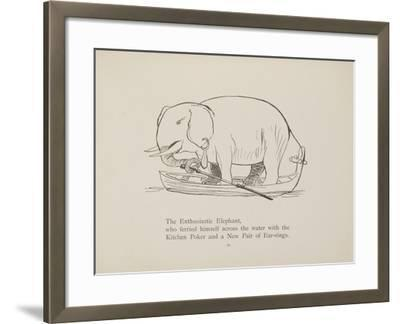 Elephant in Row Boat From a Collection Of Poems and Songs by Edward Lear-Edward Lear-Framed Giclee Print