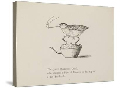 Quail Perched On Teapot, Smoking a Pipe From a Collection Of Poems and Songs by Edward Lear-Edward Lear-Stretched Canvas Print