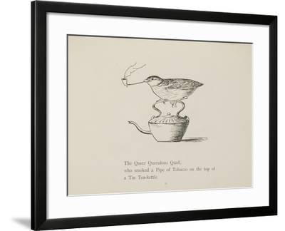 Quail Perched On Teapot, Smoking a Pipe From a Collection Of Poems and Songs by Edward Lear-Edward Lear-Framed Giclee Print