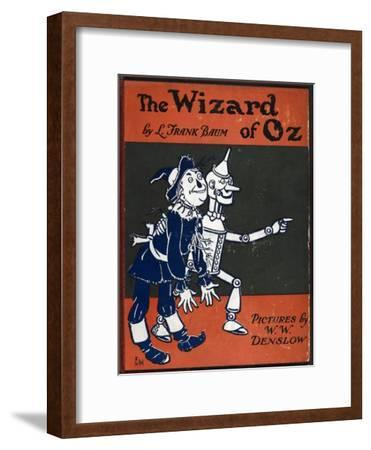 Illustrated Front Cover For the Novel 'The Wizard Of Oz' With the Scarecrow and the Tinman-William Denslow-Framed Premium Giclee Print