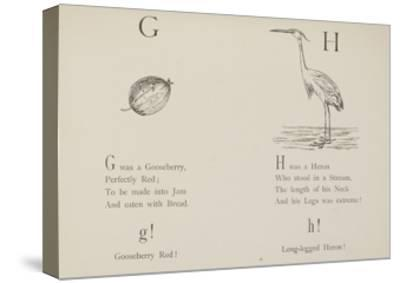 Gooseberry and Heron Illustrations and Verse From Nonsense Alphabets by Edward Lear.-Edward Lear-Stretched Canvas Print