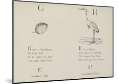 Gooseberry and Heron Illustrations and Verse From Nonsense Alphabets by Edward Lear.-Edward Lear-Mounted Giclee Print