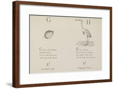 Gooseberry and Heron Illustrations and Verse From Nonsense Alphabets by Edward Lear.-Edward Lear-Framed Giclee Print