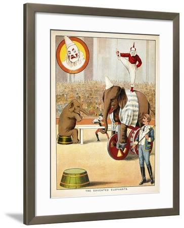 The Educated Elephants'. an Involving Elephants and Clowns in a Circus--Framed Giclee Print