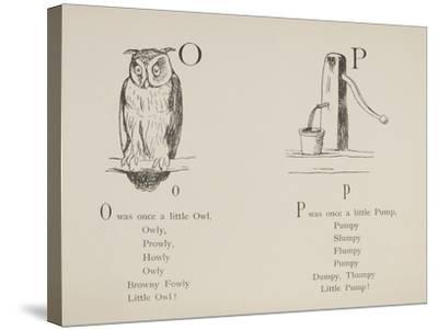 Owl and Pump Illustrations and Verses From Nonsense Alphabets Drawn and Written by Edward Lear.-Edward Lear-Stretched Canvas Print