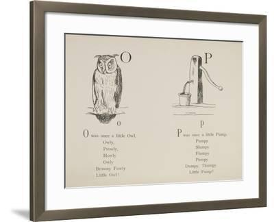 Owl and Pump Illustrations and Verses From Nonsense Alphabets Drawn and Written by Edward Lear.-Edward Lear-Framed Giclee Print