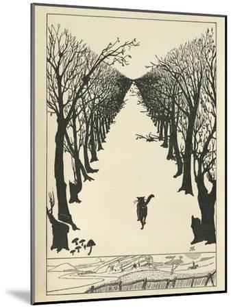 Cat Walking--Mounted Giclee Print
