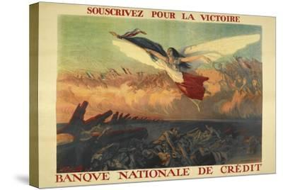 A French Propaganda Poster Showing a Woman Flying in the Air, Holding a Tricolor.--Stretched Canvas Print