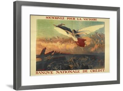 A French Propaganda Poster Showing a Woman Flying in the Air, Holding a Tricolor.--Framed Giclee Print