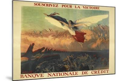 A French Propaganda Poster Showing a Woman Flying in the Air, Holding a Tricolor.--Mounted Giclee Print
