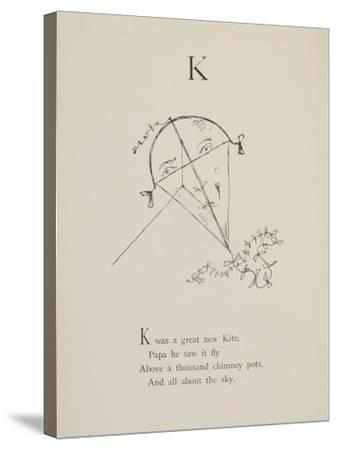 Kite Illustrations and Verses From Nonsense Alphabets Drawn and Written by Edward Lear.-Edward Lear-Stretched Canvas Print